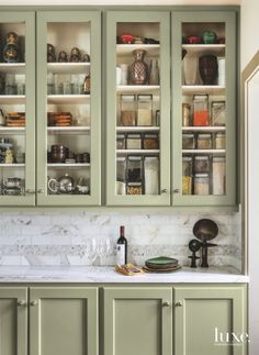 Kitchen Design Smitten With A Spanish Colonial Style House In San Francisco Interior Designer Maria Haidamus Created A Personalized Home Of Her Own Refacing Kitchen Cabinets, Green Cabinets, Cabinet Refacing, Kitchen Cabinetry, 1930s Kitchen, New Kitchen, Green Kitchen, Kitchen Linens, Kitchen Decor