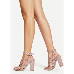 SheIn(sheinside) Buckle Detail Strappy Chunky Heels (42 CAD) ❤ liked on Polyvore featuring shoes, sandals, apricot, buckle strap sandals, strap high heel sandals, wide heel sandals, strappy sandals and high heels sandals