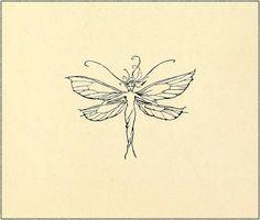 Fairy marginalia graphic by Arthur Rackham - Peter Pan in Kensington Gardens Tattoos Dainty Tattoos, Pretty Tattoos, Mini Tattoos, Small Tattoos, Small Fairy Tattoos, Key Tattoos, Foot Tattoos, Fairy Wing Tattoos, Turtle Tattoos