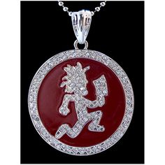 Psychopathic Circle Hatchetman Iced Silver-Colored Charm, Red Enamel