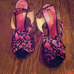 Selling this Betsey Johnson purple leopard strappy heels in my Poshmark closet! My username is: stephmoreau. #shopmycloset #poshmark #fashion #shopping #style #forsale #Betsey Johnson #Shoes