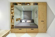 A Cozy And Stylish Bedroom With A Multifunctional Built-In Bed And Storage Area Small Space Living, Small Rooms, Small Spaces, Small Beds, Bed Storage, Bedroom Storage, Storage Area, Extra Storage, Storage Design