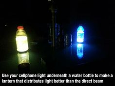 Use Gatorade (or a water bottle) and your phone to distribute light better while camping. #campingtips #campingtricks