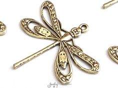 Filigree Dragonfly Charms, Gold Dragonfly Pendants,  Large FILIGREE Pendants, Gold Jewelry Components, 1 LOOP, 21x24mm, Lot Size 4+, #1FG