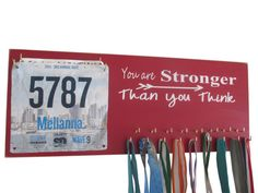 Running Medal Holder and Race Bib Holder RUNNING -You are stronger than you think inspirational- To have trained hard and finished running. on Etsy, $44.99