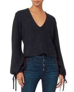 Schwartz Tie Sleeve Sweater, NAVY, hi-res