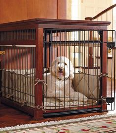 This pet crate provides ultimate comfort for your pet and doubles as an attractive piece of furniture.