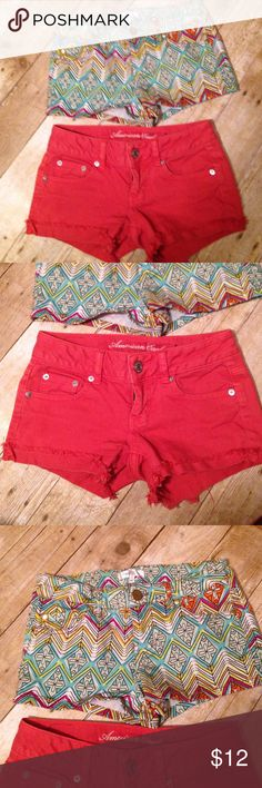 AE coral shorts bundle double zero One pair of American eagle coral shorts size 00 and one pair of love fire tribal shorts sz 1. Both fit the same. Good condition. American Eagle Outfitters Shorts Jean Shorts