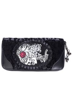 Banned Ivy Black Cameo Lady Lace Wallet - Black   One Size. Skull and Ivy  Lace cameo Pattern. Inner Sections for Bank and Credit Cards. Zipped Middle  for ... fce1dc3669