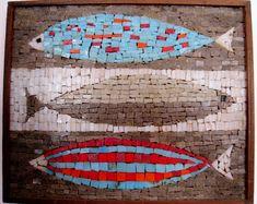 vintage mid century modern fish mosaic Italian tile art piece original 60's on Etsy, $60.00