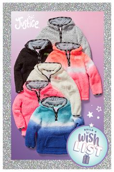 Wishlist-worthy looks: super-soft sherpa keeps her wrapped in comfort. Cute Kids Fashion, Little Girl Fashion, Teen Fashion Outfits, Cute Little Girls Outfits, Kids Outfits, Cute Outfits, Cute Baby Clothes, Doll Clothes, Justice Clothing
