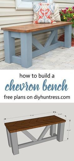 Woodworking Plans FREE PLANS - Build a Wooden Chevron Topped Bench! - Learn how to make a stylish and beautiful wooden bench with decorative angles with FREE woodworking plans from DIY Huntress. Learn Woodworking, Popular Woodworking, Woodworking Furniture, Woodworking Plans, Woodworking Patterns, Woodworking Crafts, Woodworking Tutorials, Youtube Woodworking, Woodworking Workbench