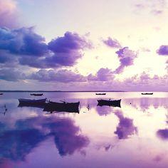 Purple Sunset In Ocean #iPad #Wallpaper