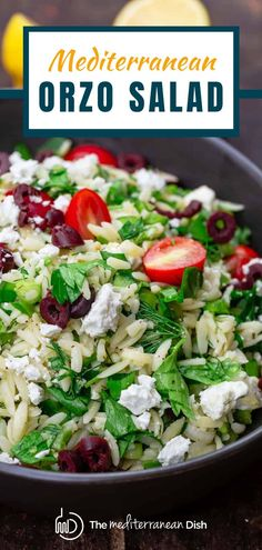 This easy Mediterranean orzo salad recipe is loaded with crunchy veggies and fresh herbs and dressed with a light lemony dressing you'll love. Try this for your next family gathering this summer for a salad everyone will love! #summersalad #barbecuesides #sidedish Great Salad Recipes, Orzo Salad Recipes, Vegetarian Recipes Easy, Good Healthy Recipes, Food Salad, Easy Recipes, Mediterranean Salad Recipe, Easy Mediterranean Diet Recipes, Mediterranean Dishes