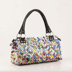 Purse made from recycled wrappers