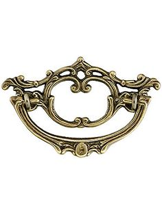 """Drawer Handles for Dressers. 3"""" On Center Cast Brass Victorian Style Bail Pull With Antique-By-Hand Finish"""