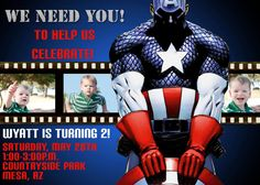 Captain America Film Strip Birthday Invitation by Sassygfx on Etsy, $15.00