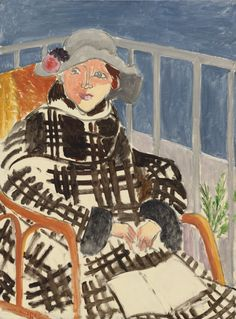 """HENRI MATISSE - """"Mmlle Matisse: Young Girl on a Balcony Over the Ocean"""" (1918)"""