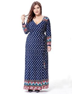 New Spring 2017 Women Maxi Plus Size Dress Long Dresses Paisley Long Sleeve Vintage Flowers Party Print Blue Long Dress Big Size Dress, Plus Size Maxi Dresses, Plus Size Outfits, Dresses To Wear To A Wedding, Prom Party Dresses, Vestidos Vintage, Vintage Dresses, Womens Swing Dress, Robe Swing