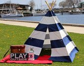 Choose Your Color, READY TO SHIP Extra Wide Striped Teepee Tent,  Navy/White, Seafoam/White, Gray/White, Kids Tent, Childrens Teepee