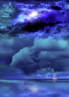 blue.quenalbertini: Blue skies over a sailboat by Jasna Matz