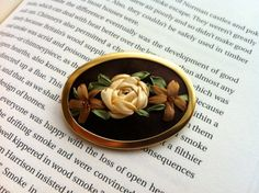 Brown Copper and Cream Beaded Rose Brooch handmade by BeanTown Embroidery, great mothers day gift Great Mothers Day Gifts, Photo Backdrops, Brooches Handmade, Ribbon Embroidery, Silk Ribbon, Handmade Crafts, Felting, Copper, Cream