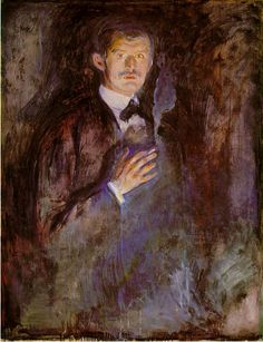 Edvard Munch (1863-1944), 1895, Self-Portrait with Cigarette. Norwegian painter whose intensely evocative treatment of psychological themes built upon some of the main tenets of late 19th-century Symbolism and greatly influenced German Expressionism in the early 20th century.