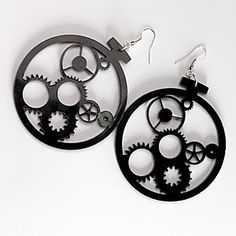 Acrylic Jewelry Clockwork Laser Cut Acrylic Earrings  -  Minimalist long black earrings