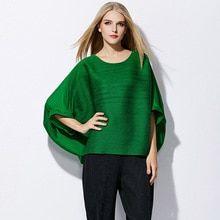 2327439bb53d5 Changpleat Plus Size women s T-shirts Miyake Pleated Fashion loose  beautiful bat sleeve Solid O