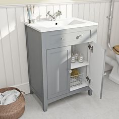 Camberley Grey Vanity Unit with Basin 600mm VictoriaPlum.com