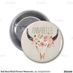 Bull Head Skull Flowers Watercolor Illustration 2 Inch Round Button - Oct 28