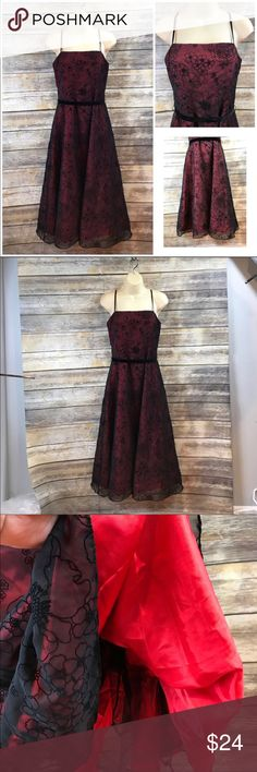 """Size 8 Jessica Howard elegant dress ▪️beautiful red layer underneath black netting overlay ▪️delicate velvet flower design ▪️has sparkle interlaced in the flowers, velvet tie ▪️NWOT ▪️46"""" from top of strap to dress hem ▪️16.5"""" armpit to armpit when laying flat Jessica Howard Dresses Midi"""