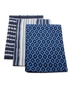 Another great find on #zulily! Indigo Dish Towel Set #zulilyfinds