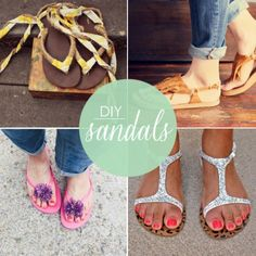 I'm sure I'm not the only lady with a pretty ridiculous collection of sandals. From super inexpensive flip flops to sky high wedges, my love for sandals knows no bounds. So the idea of taking ribbon, glitter and glue and gussying up a pair of sandals in true DIY style? I kind of have no choice but to love that idea! Want to jazz up your sandal collection, too? Here are 10 DIY sandals for summer!