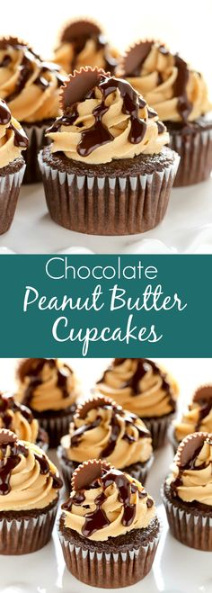 Moist chocolate cupcakes with peanut butter frosting, chocolate ganache, and peanut butter cups.