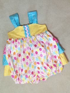 Girls Bubble Romper Sunsuit with Ruffles by BoutiqueElliEtte