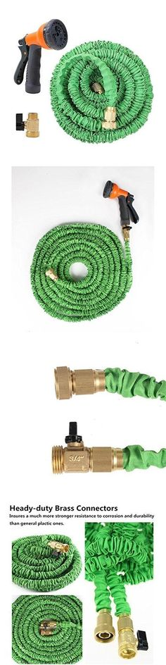 Connectors Clamps and Fittings 181013: 100 Feet Expandable Garden Hose With Brass Connector And Spray Nozzle Green -> BUY IT NOW ONLY: $49.99 on eBay!