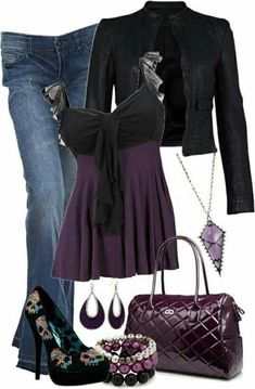 A fashion look from October 2012 featuring French Connection jackets, BLANK jeans and Iron Fist pumps. Browse and shop related looks. Mode Outfits, Fall Outfits, Casual Outfits, Fashion Outfits, Womens Fashion, Black Outfits, Fashion Boots, Vestido Casual, Rocker Chic