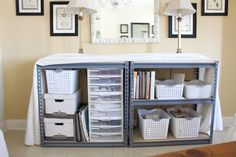 I could do something like this in my living room, but I'd use it for table linen storage instead.
