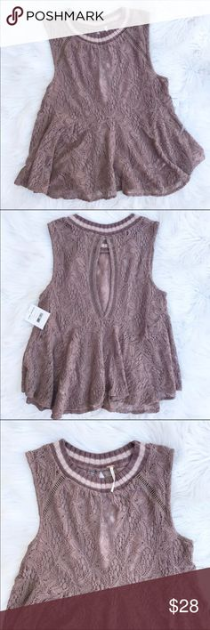NWT Free People Maisie All over Lace Tank NWT Lace top by Free People. Cute sweater like material trimming at neckline. Open back detail. Size XS. Swing Style. Listing is for brown color, stock photos to show style and fit. no trades, offers welcome. Free People Tops Tank Tops