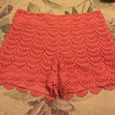 LOFT Riviera lace shorts. NWT Brand new! Beautiful coral color! LOFT Shorts