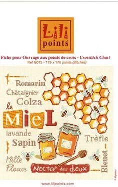 Miel Lilipoints Counted Cross Stitch Patterns, Cross Stitching, Needlework, Chart, Embroidery, Crossstitch, Stitches, French, Search