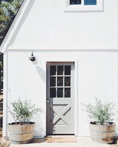 White and pastel mint door to the backyard, flanked by shrubs in barrel pots. Grey Exterior, Exterior Design, Farmhouse Design, Farmhouse Style, Modern Farmhouse Porch, Front Porch Plants, Front Porches, Beautiful Front Doors, Ideas Para Organizar