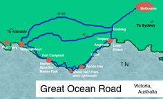 Your Step-by-Step Plan for the Ultimate Ocean Road Australia Trip: Great Ocean Road Map by cherry Australia Map, Victoria Australia, Melbourne Australia, Australia 2018, Melbourne Trip, Australian Road Trip, Apollo Bay, Travel Route, Work Travel
