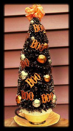 Black Bottle Brush Tree HALLOWEEN