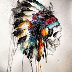 #skull #water color/ pasado de lanza !