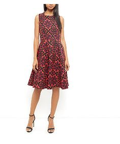 Closet Red Abstract Pattern Skater Dress | New Look