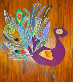 """We chose to embellish a rooster… Soft pastels on black card were the brightest option and then we added dozens of tail feathers… to produce our family's 'Chagall Rooster'…"""