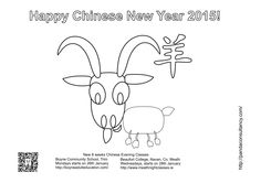 Colouring page of Chinese New Year 2015