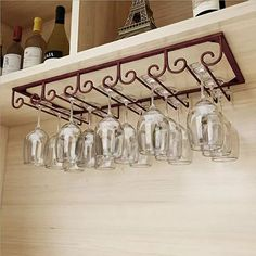 FURVOKIA Under Cabinet Floating 5 Slots Metal Wine Glass Rack,Retro Organizer Storage Shelf,Goblet Drying Holder for Kitchen Office,Holds up to Cup Glasses (Red Copper, L x W inch) Hanging Shelves, Glass Shelves, Wine Bottle Holder Wall, Wine Rack Inspiration, Hanging Wine Glass Rack, Wine Rack Design, Wine Rack Cabinet, Wine Cabinets, How To Clean Furniture